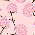 Pink Trumpet Flower on Beige Ivory Background. Vector Illustration