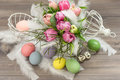 Pink tulip flowers and easter eggs romantic style decoration selective focus Royalty Free Stock Image