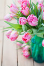 Pink tulips bouquet of beautiful in vase Royalty Free Stock Photography