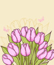 Pink tulips and butterflies decorative vector background with Stock Photography