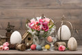 Pink tulips and colored easter eggs decoration with Stock Image