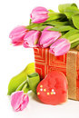 Pink tulips and gift box Stock Image