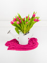 Pink tulips in white watering can bunch of on background Stock Image