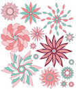 Pink and turquoise floral ornament collection Stock Photography