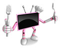 Pink tv character chef in both hands to hold a fork go on foot walking create d television robot series Royalty Free Stock Photos