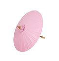 Pink umbrella handmade on white background, clipping path Royalty Free Stock Photo