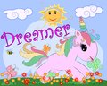 Pink unicorn on a meadow with flowers, rainbow, sun. Child illustration, fairy-tale character, dreamer