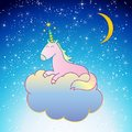 Pink Unicorn Vector sleeping on a cloud night scene sweet dreams Royalty Free Stock Photo