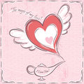 Pink valentine card with heart and magic lamp vector Stock Photos