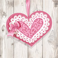 Pink valentine card on wooden background romantic Royalty Free Stock Photos