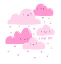 Pink valentine clouds raining hearts Stock Image
