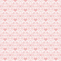 Pink valentine hearts folk art seamless background Stock Photo