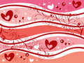 Pink valentine hearts and swirls Stock Image
