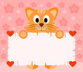 Pink valentines day background with cat card Stock Images