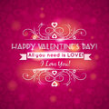 Pink valentines day greeting card with hearts vector illustration Royalty Free Stock Photo