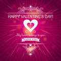 Pink valentines day greeting card with hearts vector illustration Royalty Free Stock Images