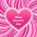 Pink vector lacy heart on wavy lines background Stock Photos