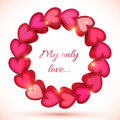 Pink vector shining frame of hearts d with shadow Royalty Free Stock Image