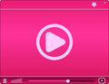 Pink Video Player. Icon. Vecto...