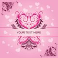 Pink vintage patterns on Valentines day card Royalty Free Stock Images