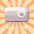 Pink vintage radio on retro grungy background Royalty Free Stock Photos