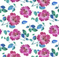Pink vivid abstract flowers seamless pattern. Royalty Free Stock Photo