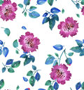 Pink vivid abstract flowers seamless pattern