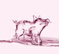 Pink water pig a made of standing and smiling dedicated to diavata http www dreamstime com diavata info Royalty Free Stock Images