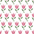 Pink watercolor cartoon flower tulip. hand drawn seamless pattern. Texture can be used for printing on fabric Royalty Free Stock Photo