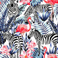 Pink watercolor flamingo, zebra and blue palm leaves tropical se