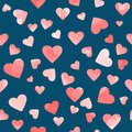 Pink watercolor hearts on blue background. vector pattern