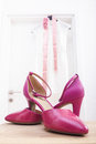 Pink  wedding bride shoes Royalty Free Stock Photo