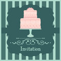 Pink wedding cake invitation design card Royalty Free Stock Images