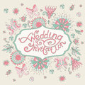 Pink wedding invitation with flowers vector illustration Royalty Free Stock Photo
