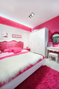 Pink-white beautiful bedroom Royalty Free Stock Image