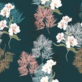Pink and white bouquets on the black background. Vector seamless pattern with garden flowers.