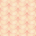 Pink and white bows elegant seamless pattern with on a beige background Stock Photos