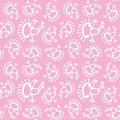 Pink white doodle alien frog baby seamless vector pattern background