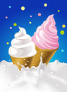 Pink and white ice cream in milk splash with dotted colorful design - vector illustration