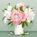 Pink and white peony bouquet luxurious peonies with leaves buds in the porcelain vase Stock Images