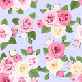 Pink and white roses on blue seamless pattern with a background Royalty Free Stock Photo