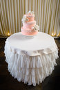 Pink and white wedding cake Royalty Free Stock Photo
