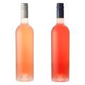 Pink wine bottles on white Stock Image