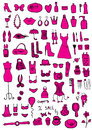Pink woman accessories hand draw Royalty Free Stock Images