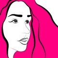 Pink womens face with hair vector illustration Stock Image
