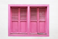 Pink wooden window is classic vintage style on white cement wall Royalty Free Stock Photo