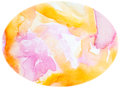 Pink yellow egg watercolor egg background yellow pink white abstract textured shaped Royalty Free Stock Photo