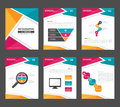 Pink yellow green Infographic elements presentation template flat design set for advertising marketing brochure flyer leaflet