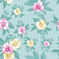 Pink yellow rose leaves seamless pattern mint background