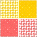 Pink, yellow and white tile vector background set